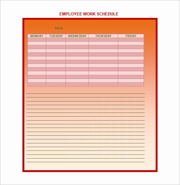 Weekly Work Schedule Template Word Best Of 9 Weekly Work Schedule Templates Pdf Doc