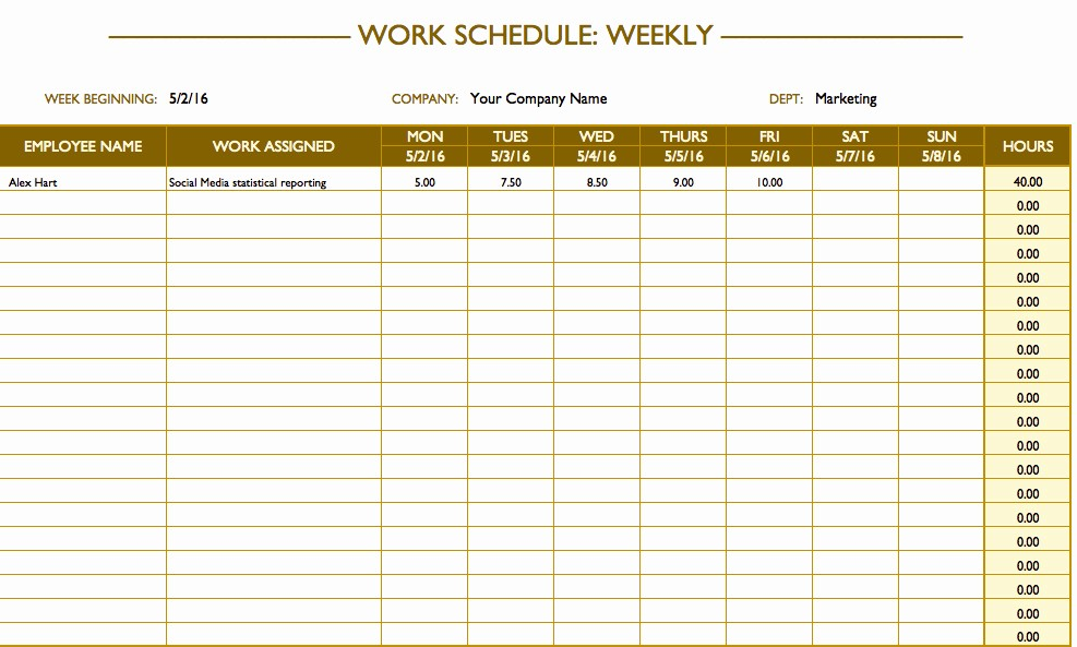 Weekly Work Schedule Template Word Inspirational Free Work Schedule Templates for Word and Excel