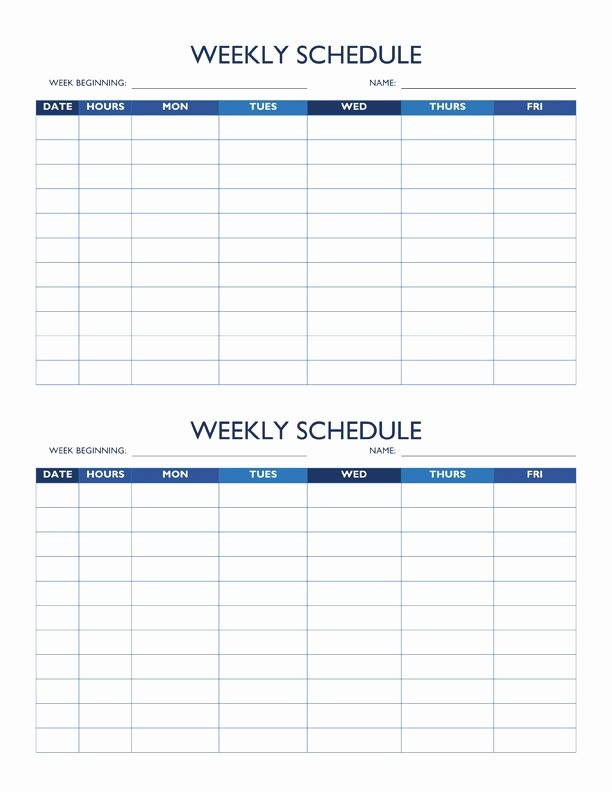 Weekly Work Schedule Template Word Lovely Free Work Schedule Templates for Word and Excel