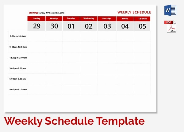 Weekly Work Schedule Template Word Luxury Weekly School Schedule Template 9 Free Word Excel