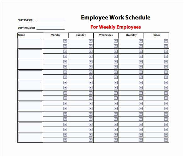 Weekly Work Schedule Template Word Unique Employee Work Schedule Template – 10 Free Word Excel