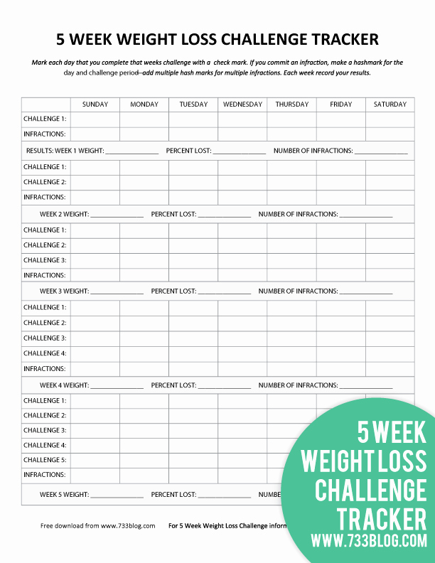 Weight Loss Challenge Chart Template Inspirational 5 Week Weight Loss Challenge Printable Tracker