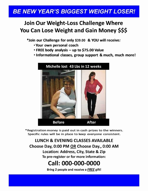 Weight Loss Challenge Flyer Template Awesome 27 Of Weight Loss Challenge Flyer Template