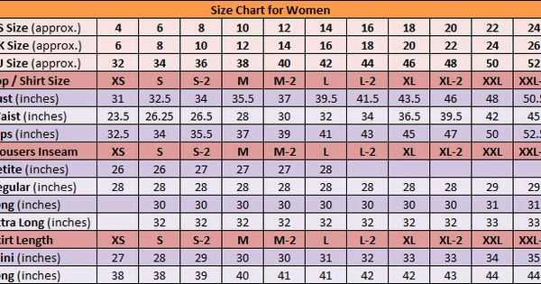Weight Loss Chart for Women Awesome Size Chart Women