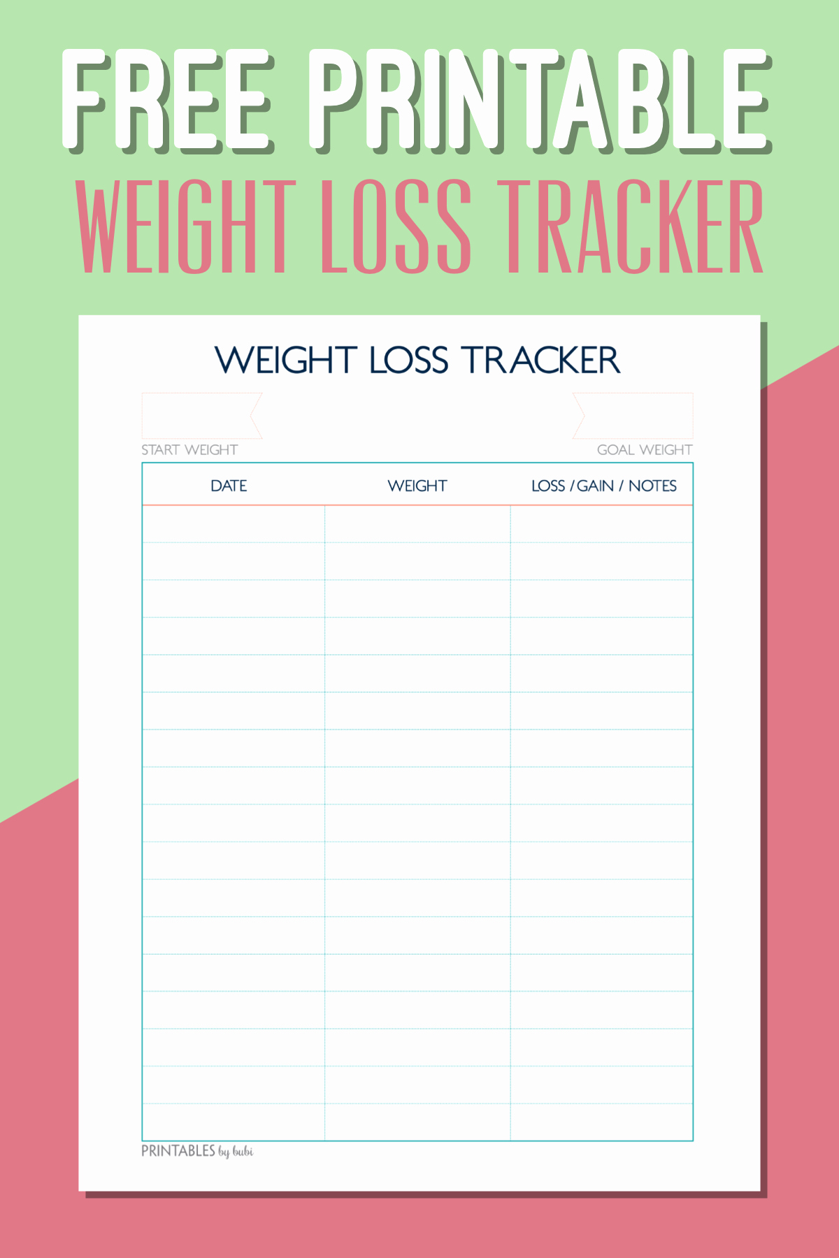 Weight Loss Chart Printable Blank Elegant Free Printable Weight Loss Tracker – Instant Download Pdf