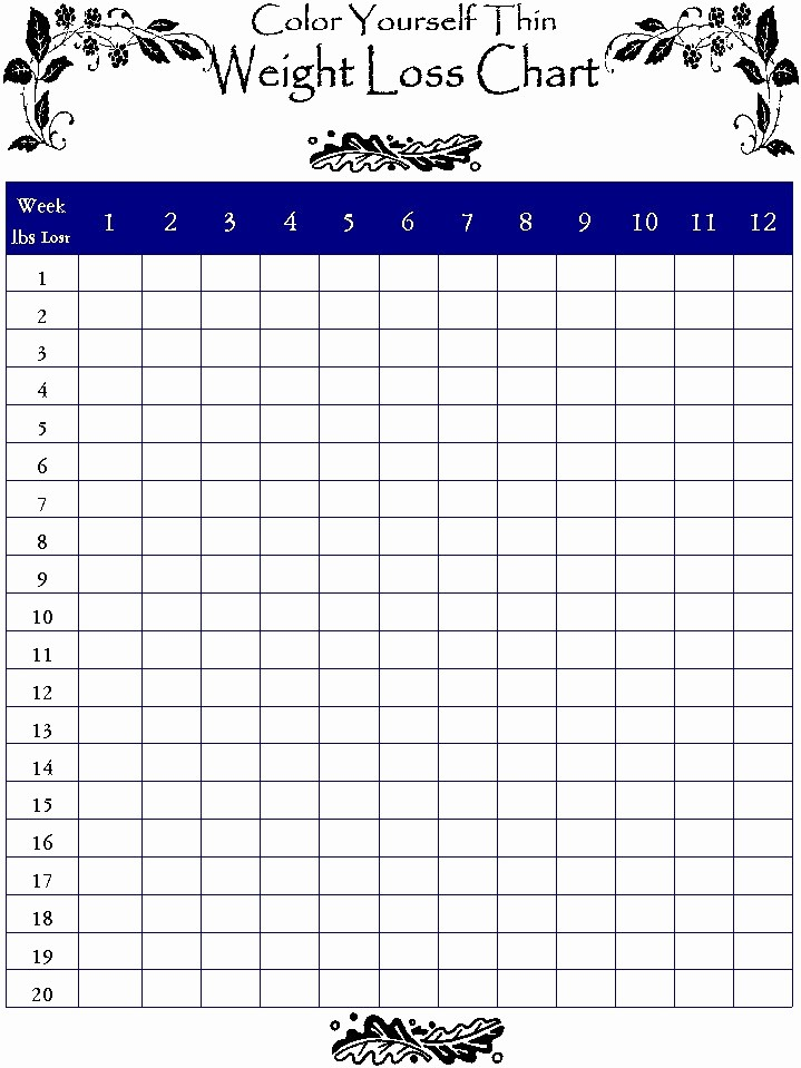 Weight Loss Chart Printable Blank Fresh Printable Blank Weight Loss Charts Daily