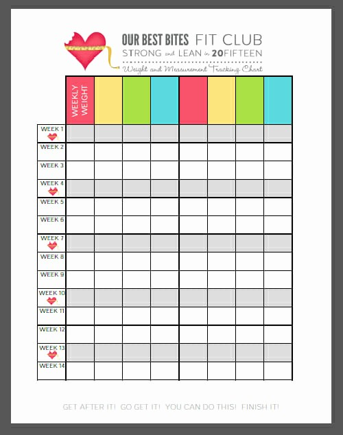 Weight Loss Chart Printable Blank Inspirational Obb Fit Club Check In Our Best Bites