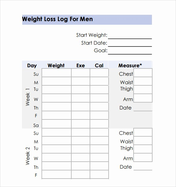 Weight Loss Chart Printable Blank New Weight Loss Chart 9