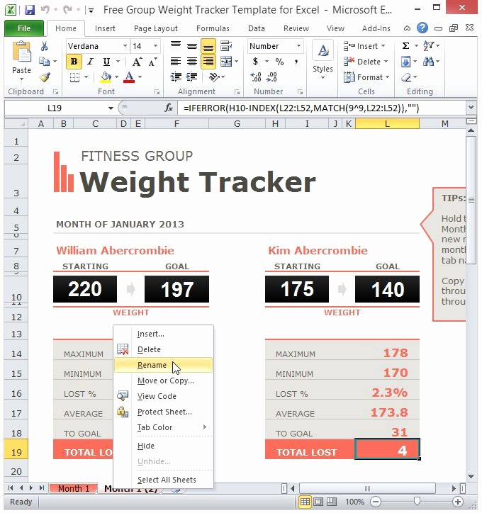 Weight Loss Tracker Excel Spreadsheet New Free Group Weight Tracker Template for Excel