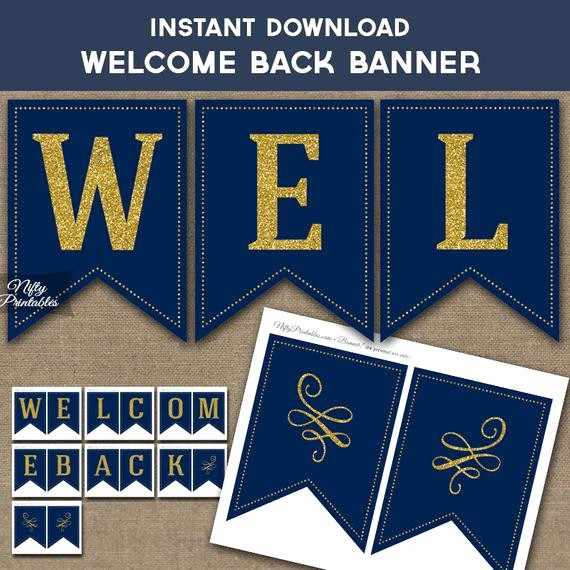 Welcome Back Sign to Print Beautiful Wel E Back Banner Printable Navy Blue & Gold Glitter