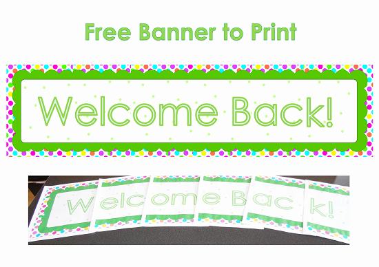 free printable wel e back banner