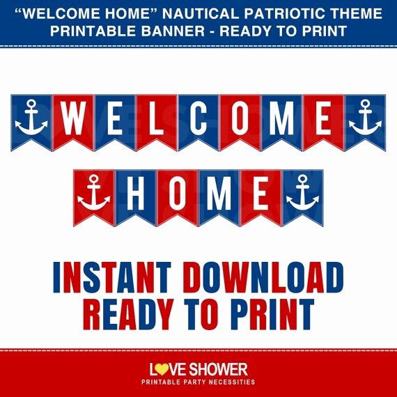 Welcome Back Sign to Print Luxury Wel E Home Printable Banner Red Blue Nautical Patriotic