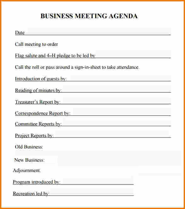 What is A Business Agenda Elegant 4 Business Agenda