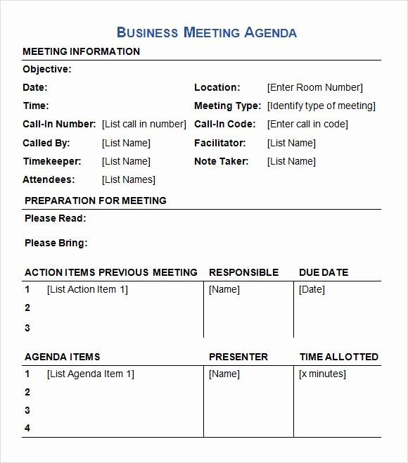 What is A Business Agenda Fresh 6 Sample Business Meeting Agenda Templates to Download