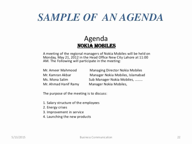 What is A Business Agenda Fresh Business Munication