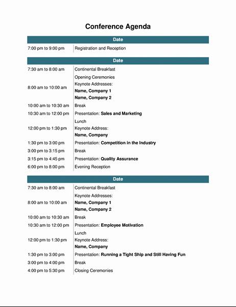Conference agenda TM