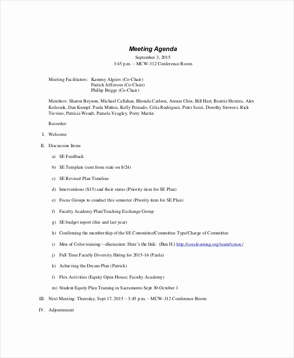 What is A Business Agenda Lovely formal Meeting Agenda Template – 7 Free Word Pdf