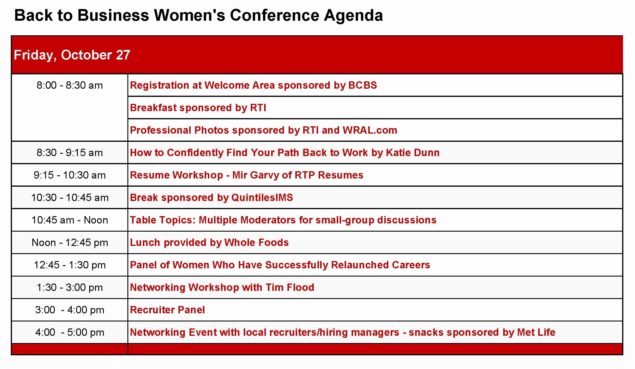 What is A Business Agenda Luxury Conference Agenda Back to Business