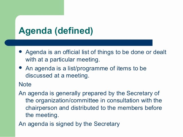 What is A Business Agenda New Notice Agenda and Minutes if Meeting