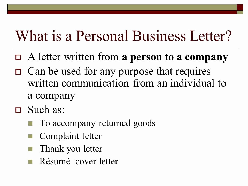 What is A Business Letterhead Best Of Personal Business Letters and Mon Documents Ppt