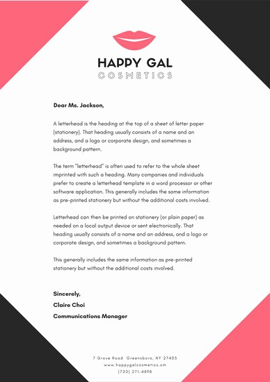 What is A Business Letterhead Inspirational Black and Pink Cosmetic Business Letterhead Templates by