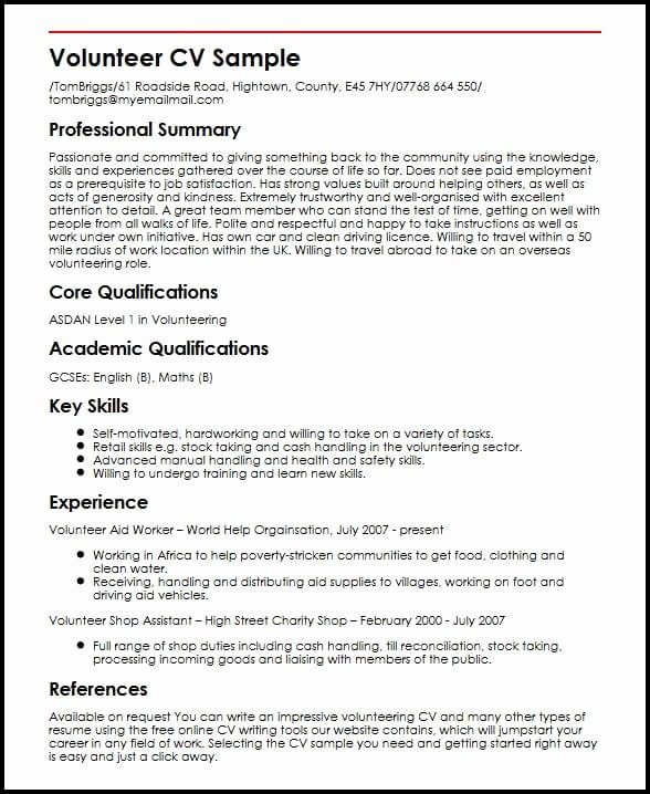 What is A Cv Letter Lovely Volunteer Cv Sample