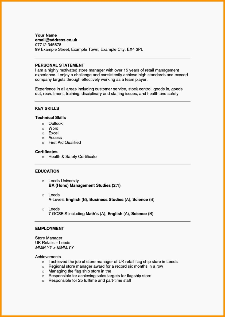 What Is A Cv Letter New Personal Statement Examples Resume Template