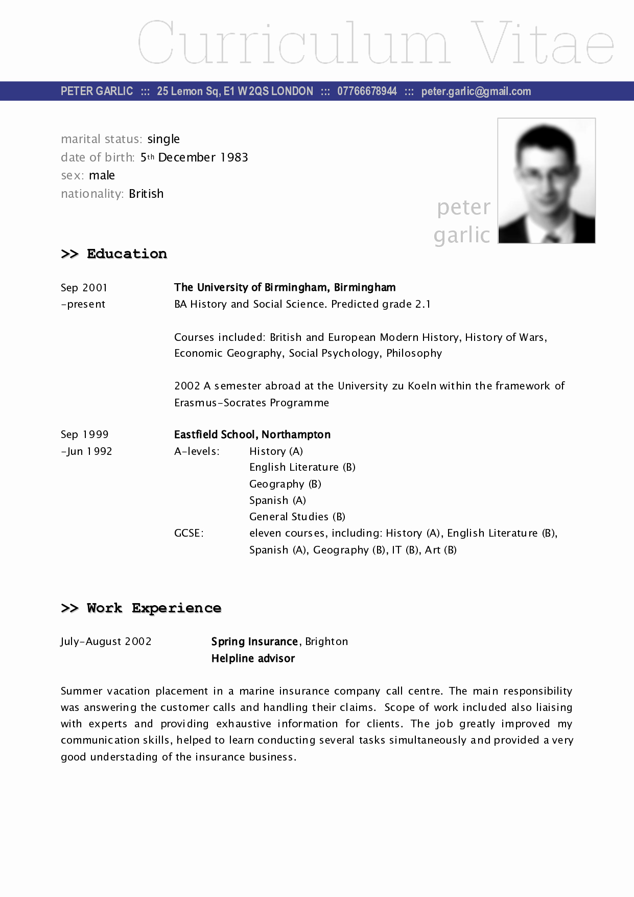 What is A Cv Letter Unique Cv Example
