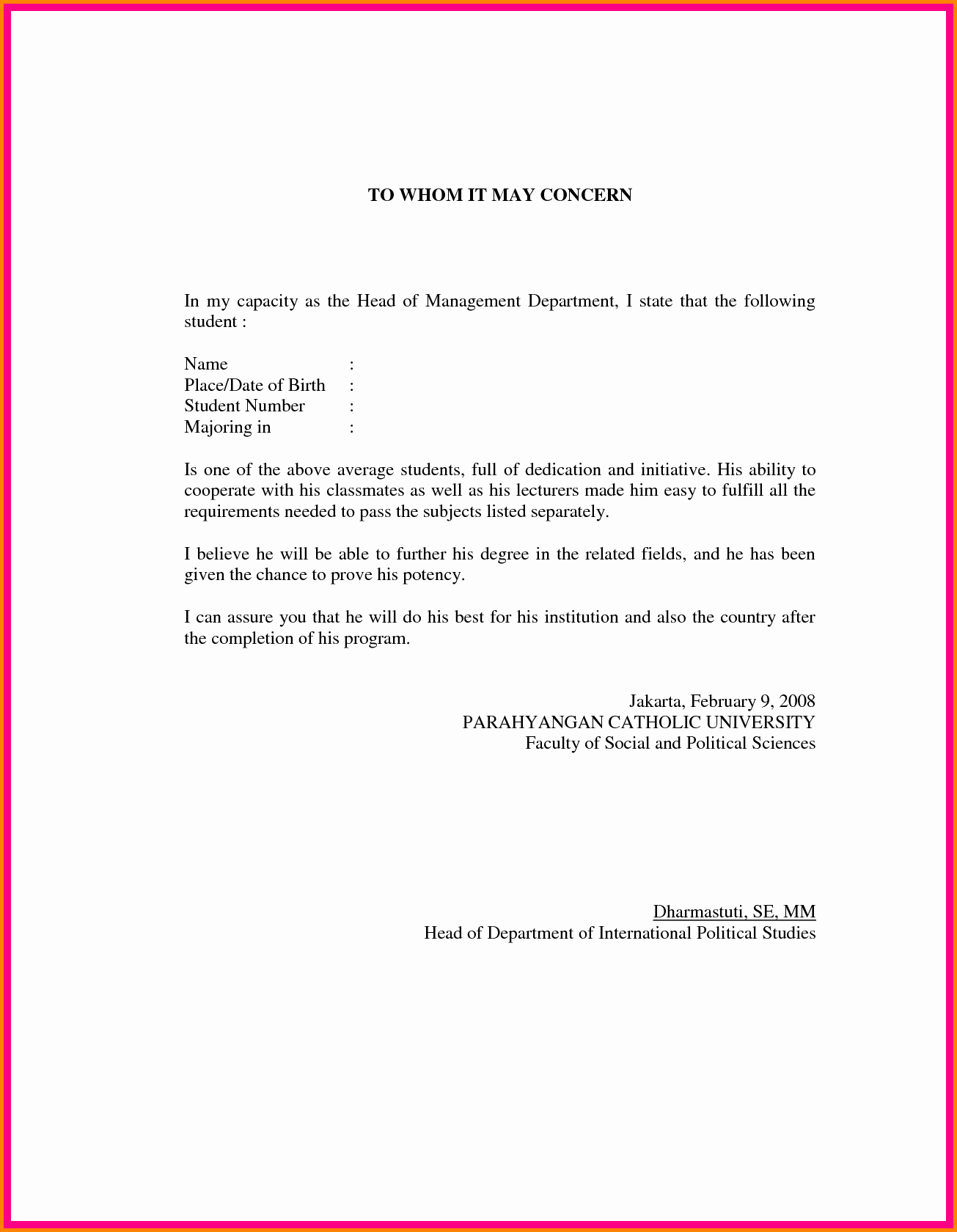 What is A Recommendation Letter Fresh Letter Of Re Mendation format Sample Template
