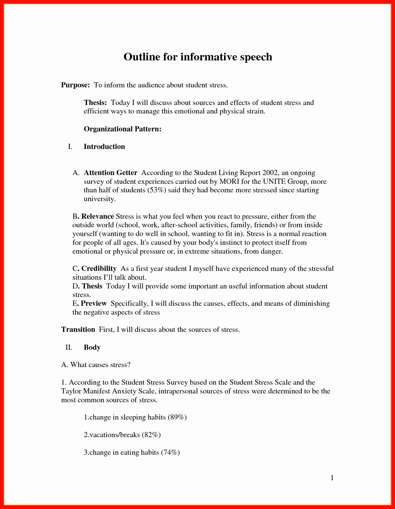 What is A Speaking Outline Awesome Informative Speech Outline