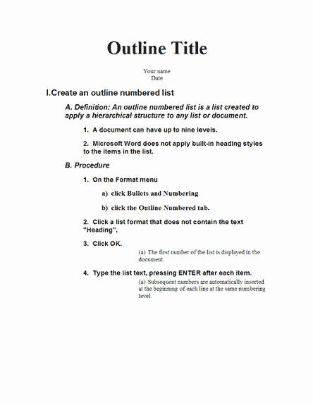 What is A Speaking Outline Beautiful Five Level Outline with Instructions