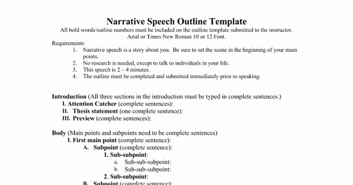 What is A Speaking Outline Luxury Narrative Speech Outlinec Google Docs