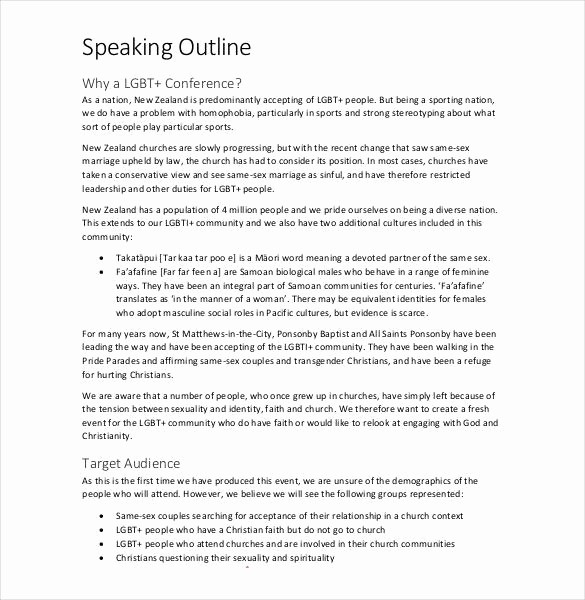 What is A Speaking Outline Unique 29 Speech Outline Templates Pdf Doc
