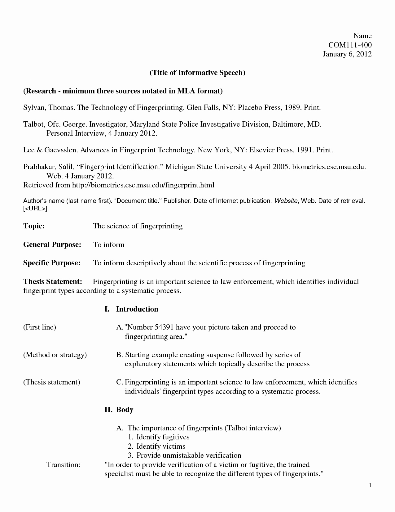What is A Speech Outline Beautiful Template Informative Speech Examples