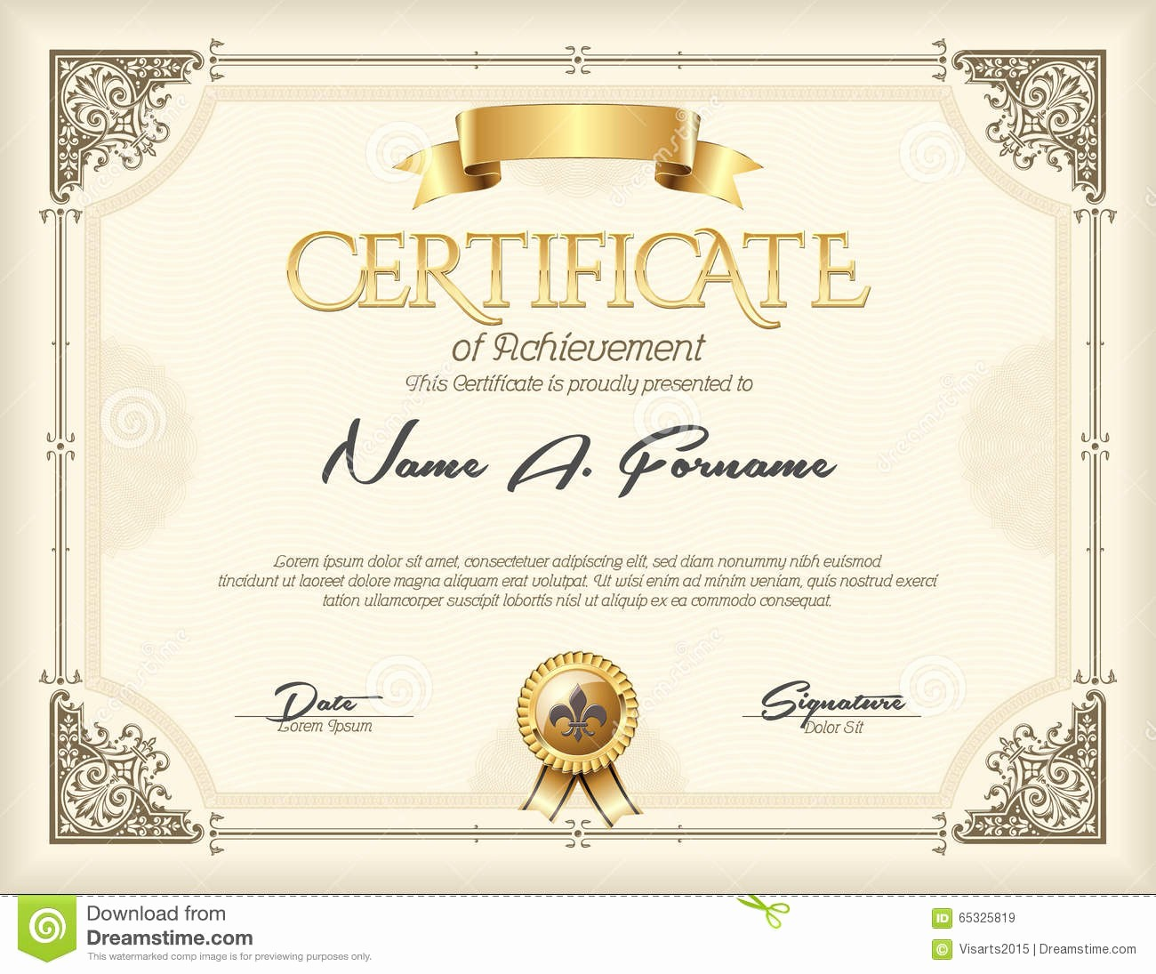 What is Certificate Of Achievement Awesome Certificate Achievement Vintage Gold Frame Stock Vector