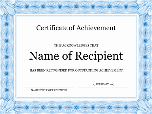 What is Certificate Of Achievement Awesome Certificate Of Achievement Blue