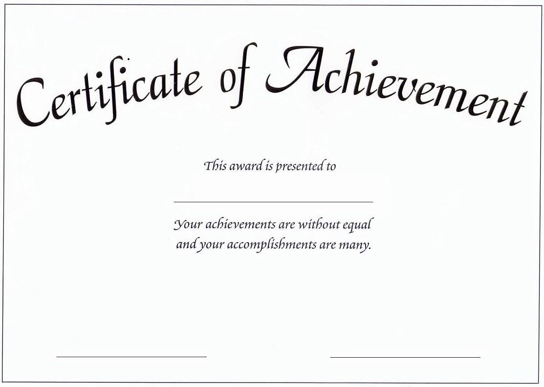 What is Certificate Of Achievement Awesome Goshin Karate and Judo Academy Scottsdale Arizona