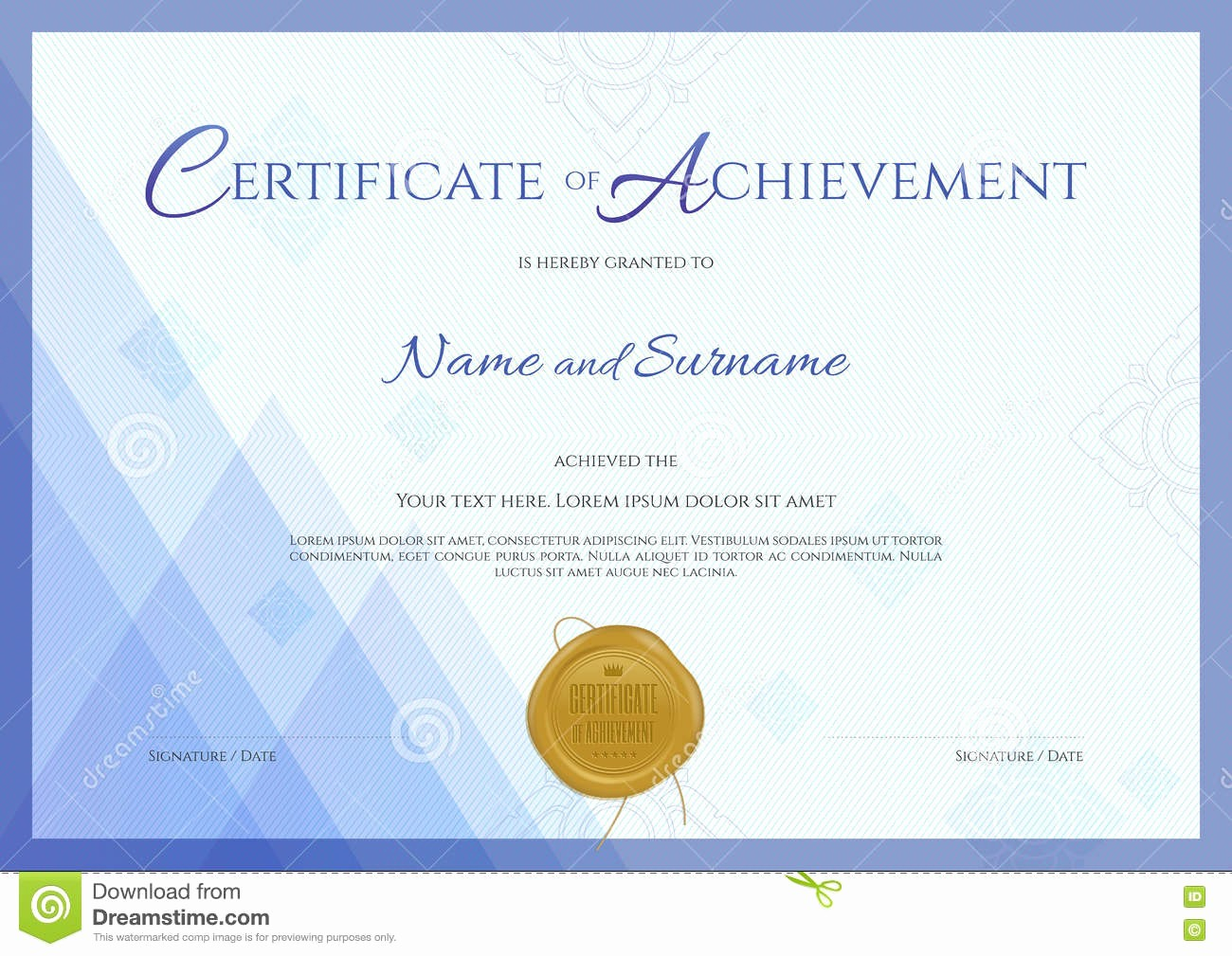 What is Certificate Of Achievement Best Of Certificate Achievement Template with Blue theme