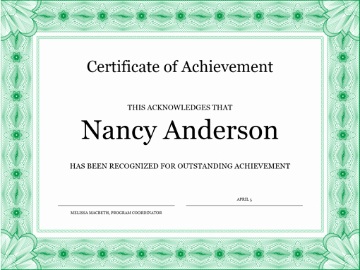 What is Certificate Of Achievement Elegant Certificate Of Achievement Green