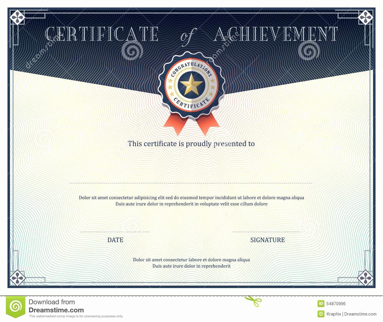 What is Certificate Of Achievement Fresh Certificate Achievement Design Template Stock Vector