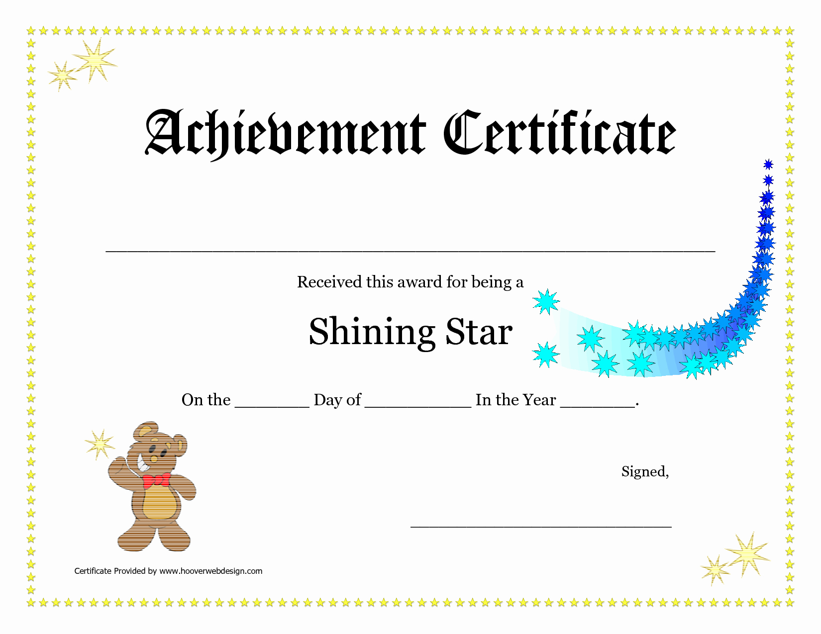 printable achievement certificates