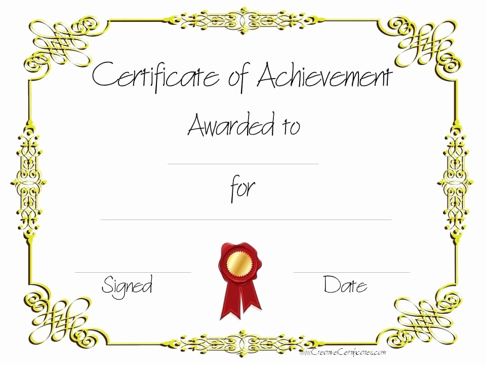 What is Certificate Of Achievement New which Type Certificate Designs