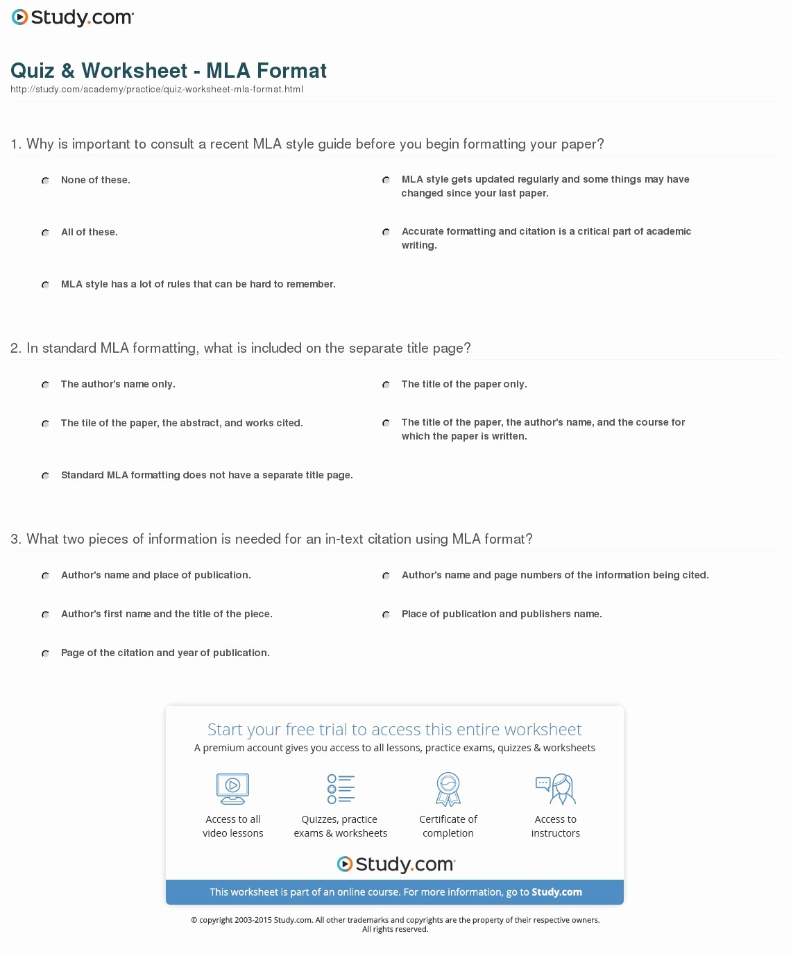 What is Mla Writing Style Unique Quiz & Worksheet Mla format