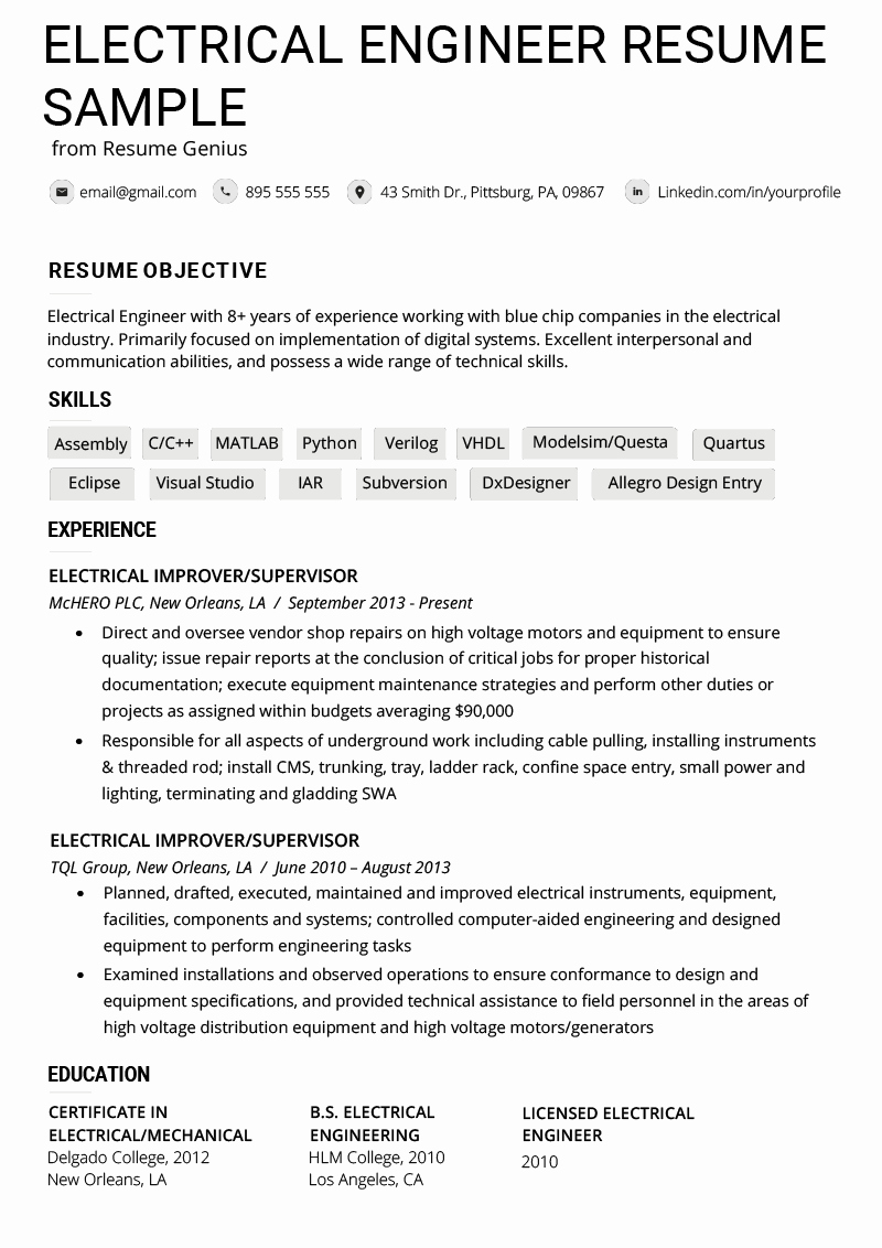 What Microsoft Program Makes Resumes Unique Electrical Engineer Resume Example & Writing Tips