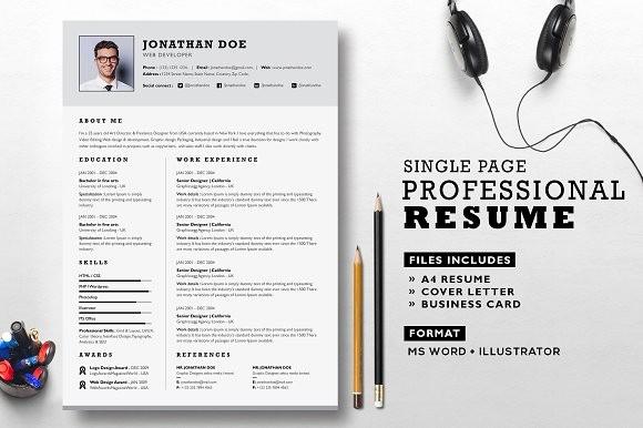 What Microsoft Program Makes Resumes Unique Professional Resume Set Resume Templates Creative Market