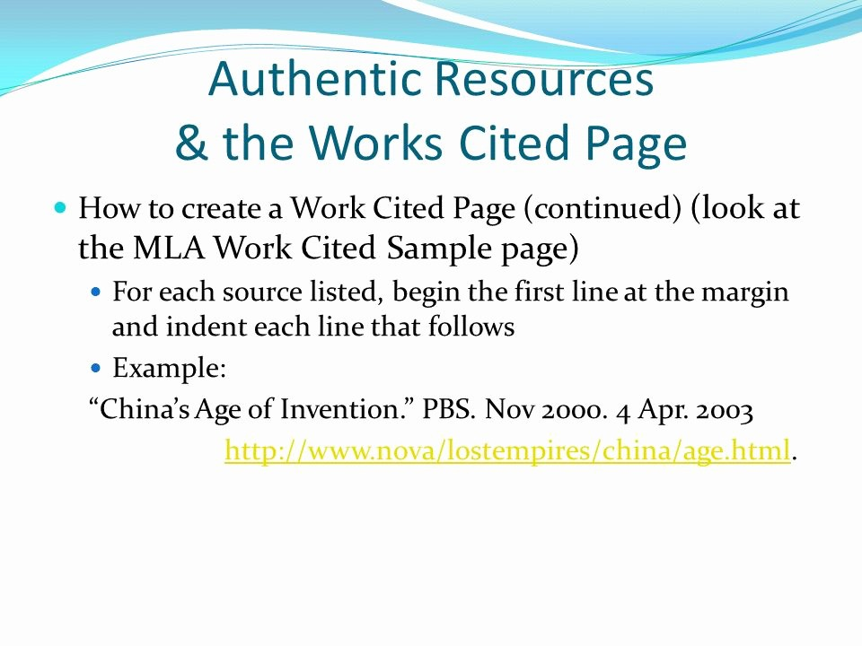 What's A Work Cited Page Best Of Authentic Resources & the Works Cited Page Ppt Video