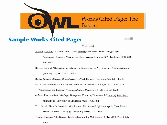 What's A Work Cited Page Fresh Purdue Owl Mla format