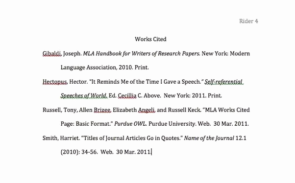 What's A Work Cited Page Unique for A Mla Works Cited Page Do You Leave A Space Between