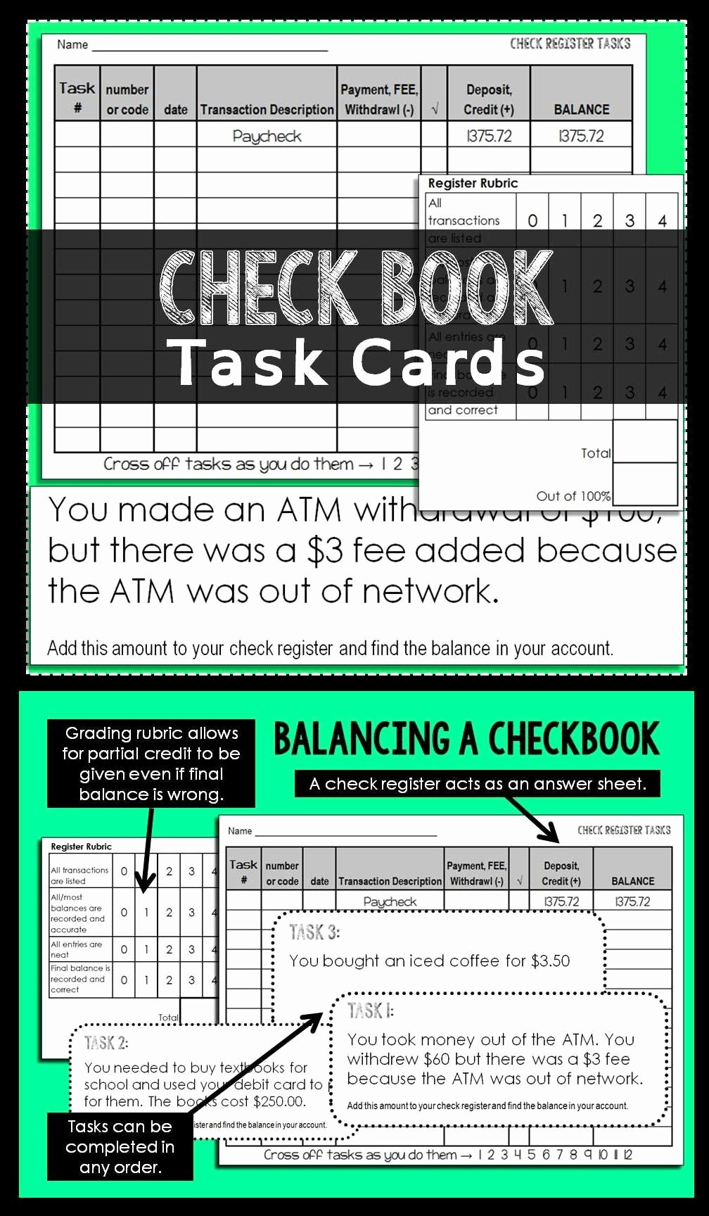 Where to Buy Check Registers Luxury Checkbook Task Cards Task Cards Pinterest