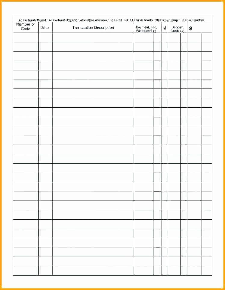 Where to Buy Checkbook Register Elegant Free Checkbook Register Business Excel Printable Line